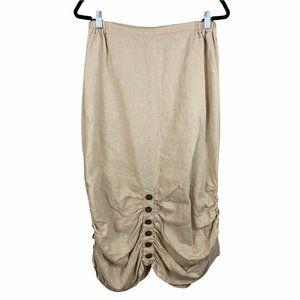 Firmiana Women 100% Linen Belle Button Midi Skirt Medium Beige Pockets F13298R1